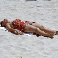 Sunbathing on a beach