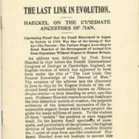 Last link in evolution: haeckel on the immediate…