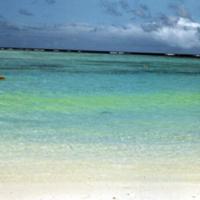 Tumon Bay. Life raft; dye marker. Guam. Feb. 1950