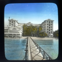 Moana hotel seen from ocean-side pier
