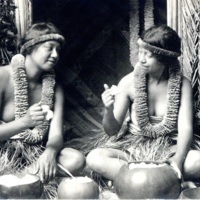 [Two Hawaiian women in traditional costume conversing]