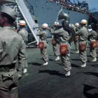 """Marine band playing """"Admiral's March."""" Guam. 7 Oct.…"""