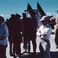 Mrs. McConnell & Prof. Sheets. Saipan. Nov. 1950