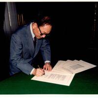 Senator Spark Matsunaga signing Civil Liberties Act of…