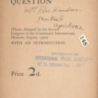 Agrarian question: (thesis adopted by the Second…