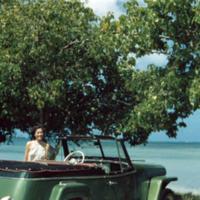 Margo, Cdr. Mang's jeep. Saipan, M.I. 11 Mar. 1950