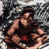 Boy in Shadow of Palm Tree