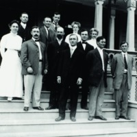 Faculty in front of Maertens House