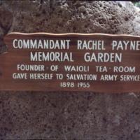 Waioli Tea Room founder Rachel Payne sign