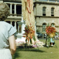 King Kamehameha decked with leis. Honolulu. 9 June 1951
