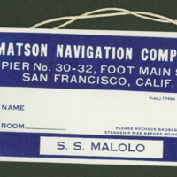 [133] S.S. Malolo Baggage Tag