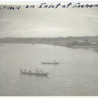 Boatmen on inlet at Isohama, Ibaraki Japan