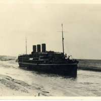A steamboat on the Suez Canal, Egypt