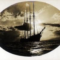 4-masted sailing ship, sails furled