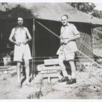 Lorrimer & Angus outside their tent. N.G. '43