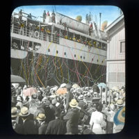 Steamer Day, view of liner at port, Honolulu