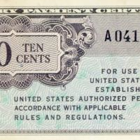 Kaizawa doc 31-1: Front image of a ten cents, military…