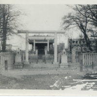 A shrine with a torii gate and a pair of Komainu, Japan