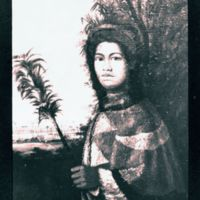 Princess Nāhi'ena'ena holding feathered royal kahili…