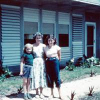 Mrs. R.K. Cockey & daughters. Guam. Apr. 1950