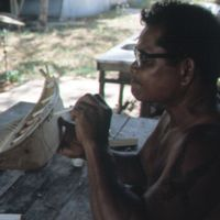 Mau Piailug making model canoe - 006