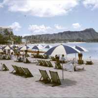 Tourists on a beach near Diamond Head