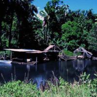 Canoe house on river
