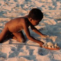 Boy Playing with Shells on the Beach