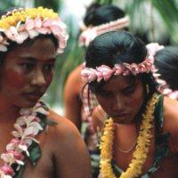 Women Wearing Flower Leis
