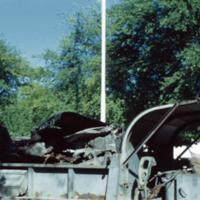 Wrecked jeep. 2 killed. Saipan. Feb. 1951