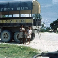 Angaurese children, village. Mine Co. bus. [Ngeaur,…