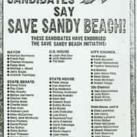 Vote Yes, 81 candiates say save Sandy Beach!