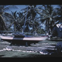 """Juda's"" canoe on display at Kwajalein Is."