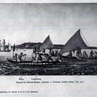 Kanus im MutokHafen. (Zeichn. v. Postels, Lutke-Atlas,…