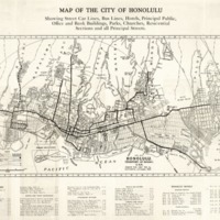 Map of Honolulu : Showing Street Car Lines, Bus Lines,…