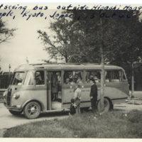 Americans inside a sightseeing bus outside Higashi…