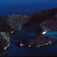 Lagoon, Angaur [Ngeaur], Koror. Tiny coral islands.…