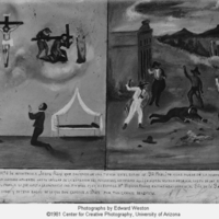 Retablo in two parts : Stoning of Jesus Ruis at the…