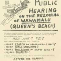 Public hearing on the rezoning of Wawamalu (Queen's…