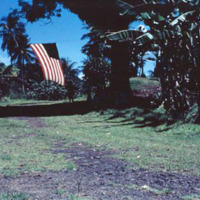 Area outside church, Dublon [Tonoas, Chuuk]. Sept. 1950