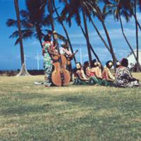 Eating taro, (some) boy pounding into poi. Honolulu. 18…