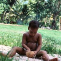 Anson Kaiyo plays with a coconut shell. Satawal Island.…