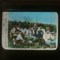 Workers on the watermelon field: [水瓜畑]