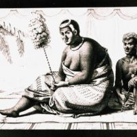 Queen Ka'ahumanu with her servant on rug