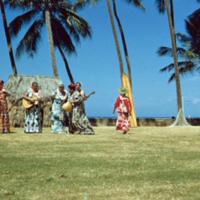 Comic hula dancer, Honolulu. 18 Mar. 1954