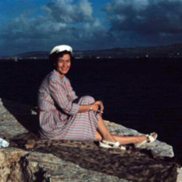 Margo on the breakwater. Apra Harbor, Guam. Dec. 1949