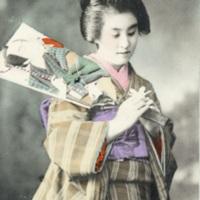 [A woman in kimono holding a battledore (hagoita 羽子板)]