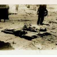 Two deceased on stretchers, Okinawa