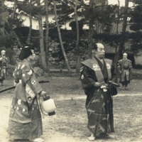 [Six men performing a samurai play]