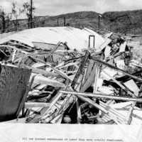 Destruction of quonset warehouses, Lower Base.…